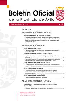 Boletín Oficial de la Provincia del martes, 29 de septiembre de 2015