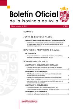 Boletín Oficial de la Provincia del viernes, 30 de octubre de 2015