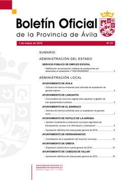 Boletín Oficial de la Provincia del martes, 1 de marzo de 2016