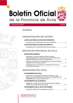 Boletín Oficial de la Provincia del miércoles, 1 de junio de 2016