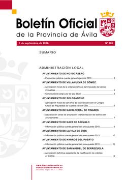 Boletín Oficial de la Provincia del jueves, 1 de septiembre de 2016