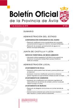 Boletín Oficial de la Provincia del jueves, 1 de diciembre de 2016