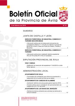 Boletín Oficial de la Provincia del martes, 2 de febrero de 2016