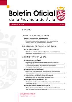 Boletín Oficial de la Provincia del miércoles, 2 de marzo de 2016