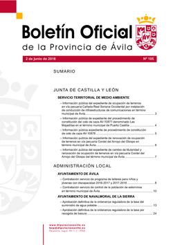 Boletín Oficial de la Provincia del jueves, 2 de junio de 2016