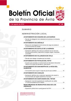 Boletín Oficial de la Provincia del martes, 2 de agosto de 2016