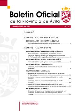 Boletín Oficial de la Provincia del viernes, 2 de septiembre de 2016