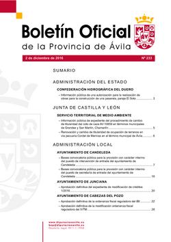 Boletín Oficial de la Provincia del viernes, 2 de diciembre de 2016