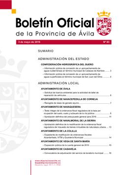 Boletín Oficial de la Provincia del martes, 3 de mayo de 2016