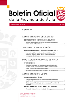 Boletín Oficial de la Provincia del lunes, 3 de octubre de 2016