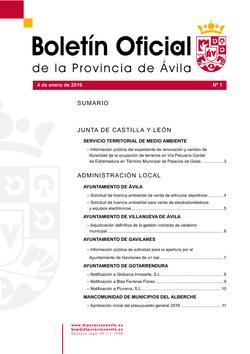 Boletín Oficial de la Provincia del lunes, 4 de enero de 2016