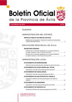 Boletín Oficial de la Provincia del jueves, 4 de febrero de 2016