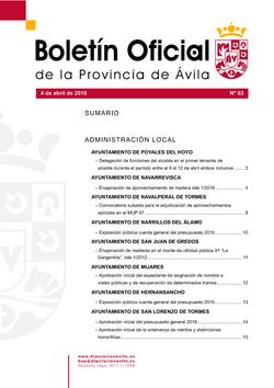 Boletín Oficial de la Provincia del lunes, 4 de abril de 2016