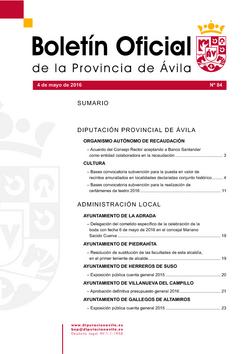 Boletín Oficial de la Provincia del miércoles, 4 de mayo de 2016