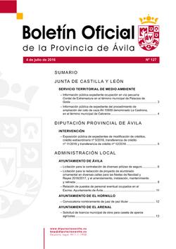 Boletín Oficial de la Provincia del lunes, 4 de julio de 2016