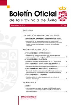 Boletín Oficial de la Provincia del jueves, 4 de agosto de 2016