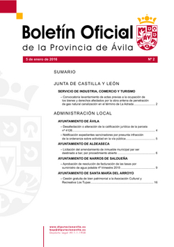 Boletín Oficial de la Provincia del martes, 5 de enero de 2016