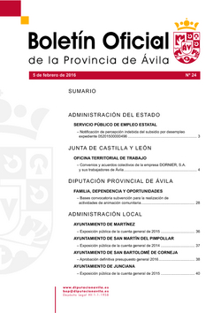 Boletín Oficial de la Provincia del viernes, 5 de febrero de 2016