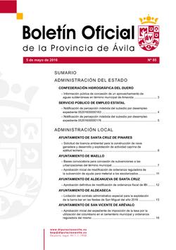Boletín Oficial de la Provincia del jueves, 5 de mayo de 2016