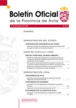 Boletín Oficial de la Provincia del lunes, 5 de diciembre de 2016