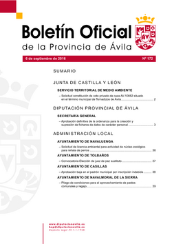 Boletín Oficial de la Provincia del martes, 6 de septiembre de 2016