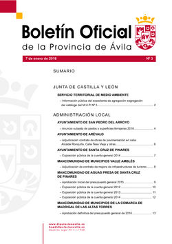 Boletín Oficial de la Provincia del jueves, 7 de enero de 2016