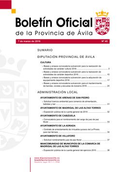 Boletín Oficial de la Provincia del lunes, 7 de marzo de 2016
