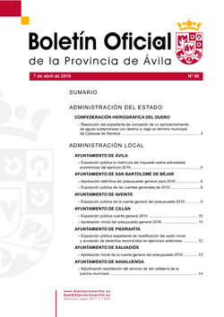 Boletín Oficial de la Provincia del jueves, 7 de abril de 2016