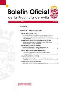 Boletín Oficial de la Provincia del lunes, 7 de noviembre de 2016