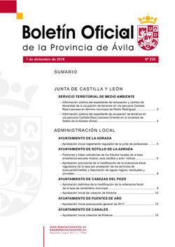Boletín Oficial de la Provincia del miércoles, 7 de diciembre de 2016