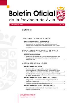 Boletín Oficial de la Provincia del viernes, 8 de julio de 2016
