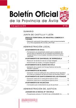 Boletín Oficial de la Provincia del lunes, 8 de agosto de 2016