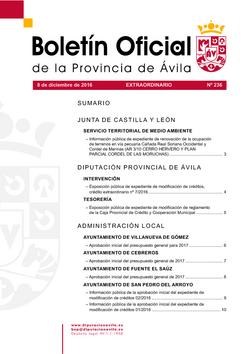 Boletín Oficial de la Provincia del jueves, 8 de diciembre de 2016