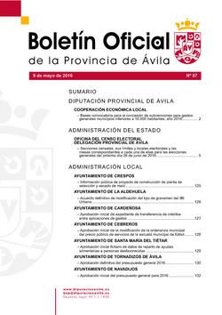 Boletín Oficial de la Provincia del lunes, 9 de mayo de 2016