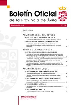 Boletín Oficial de la Provincia del jueves, 9 de junio de 2016
