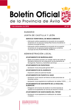 Boletín Oficial de la Provincia del viernes, 9 de diciembre de 2016