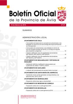 Boletín Oficial de la Provincia del miércoles, 10 de febrero de 2016