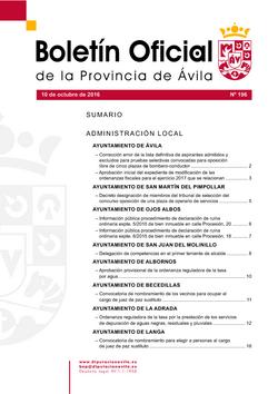 Boletín Oficial de la Provincia del lunes, 10 de octubre de 2016