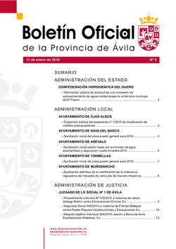 Boletín Oficial de la Provincia del lunes, 11 de enero de 2016