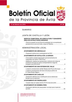 Boletín Oficial de la Provincia del jueves, 11 de febrero de 2016
