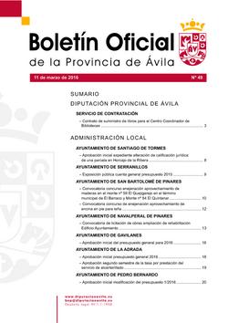 Boletín Oficial de la Provincia del viernes, 11 de marzo de 2016