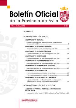 Boletín Oficial de la Provincia del lunes, 11 de abril de 2016