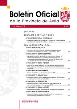 Boletín Oficial de la Provincia del lunes, 11 de julio de 2016