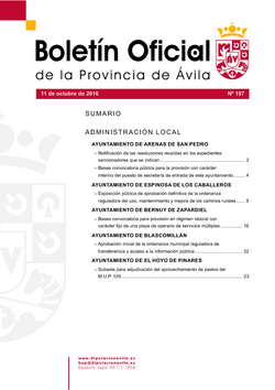 Boletín Oficial de la Provincia del martes, 11 de octubre de 2016