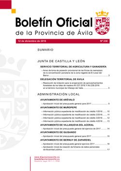Boletín Oficial de la Provincia del lunes, 12 de diciembre de 2016