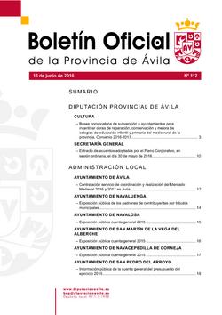 Boletín Oficial de la Provincia del lunes, 13 de junio de 2016
