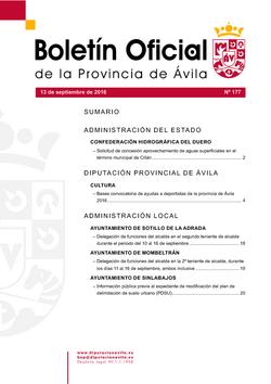 Boletín Oficial de la Provincia del martes, 13 de septiembre de 2016
