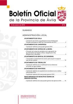 Boletín Oficial de la Provincia del jueves, 14 de enero de 2016