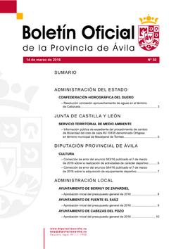 Boletín Oficial de la Provincia del lunes, 14 de marzo de 2016