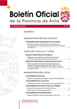 Boletín Oficial de la Provincia del martes, 14 de junio de 2016